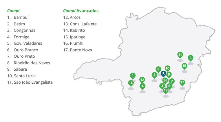 Mapa de Unidades do IFMG