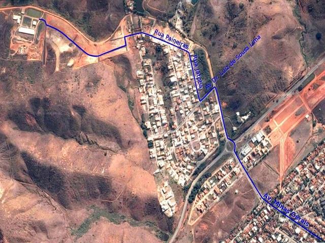Mapa para chegar no campus Governador Valadares