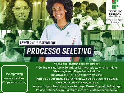 IFMG Campus Ipatinga abre inscrições para o Vestibular 2019!!!!
