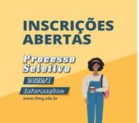 Processo Seletivo 2022/1: inscrições abertas